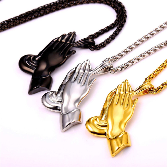 U7 Brand The Praying Hands Jewelry Pendant & Necklace Brother Gift Yellow Gold Plated Stainless Steel Men Chain Bijoux P927