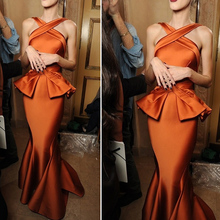 Halter Ruffles Mermaid Elegant Evening Formal Celebrity Dresses Fashion Gowns Orange Long Dress