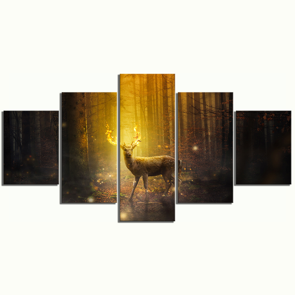 5 Piece Fantasy Art Pictures Animal Deer Paintings Landscape Forest Paintings Canvas Art for Home Decor 3