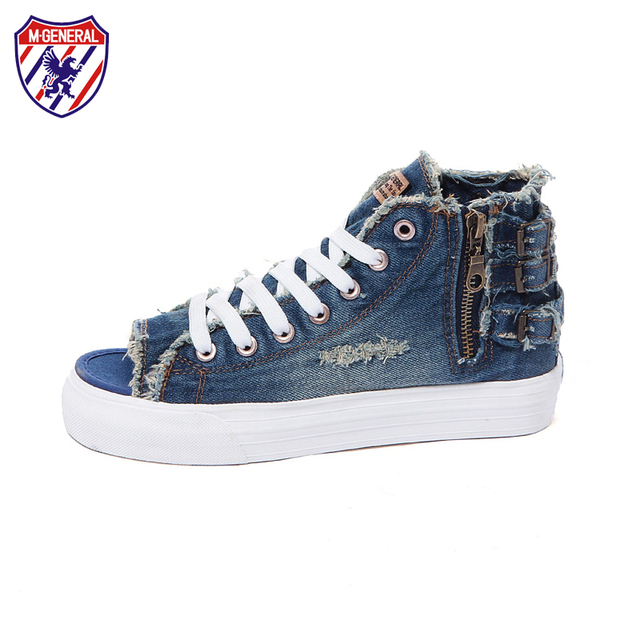 M.GENERAL Women Fashion Canvas Casual Denim Open Toe Shoes New Summer 2016 Side Zipper Zapatos Mujer Zapatillas Deportivas M6693