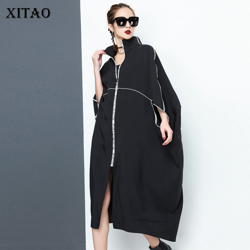 [XITAO] Asymmetrical Women Autumn Korea Fashion Turn-down Collar Half Lseeve   Trench   Female Solid Color Casual   Trench   GWY2288