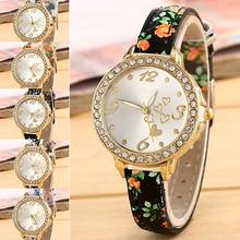 New Women's Love Heart Dial Flower Printed Fine Faux Leather Band Quartz Wrist Watch 181 G6TN 98Z8