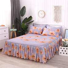 150x200cm 3Pcs Flower Series Bed Skirt Queen Size Single-Layer Skin-Friendly Cotton Bedspread with 1 Bedspread 2 Pillowcases(China)