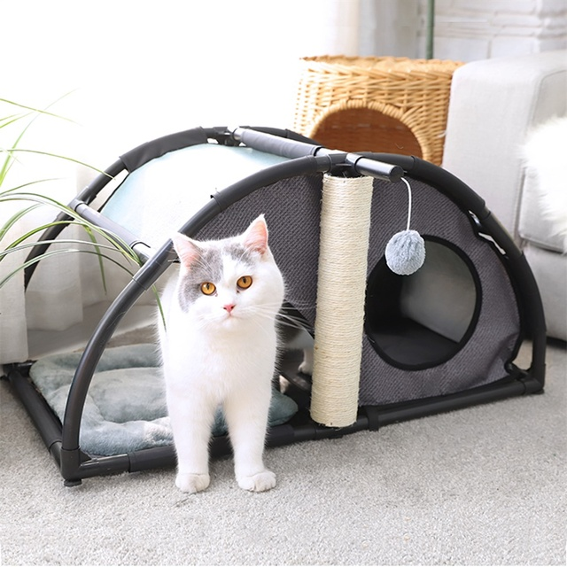 Multi-functional Luxury Pet Nest Have Fun sisal pillars for Play Steel Claw Sleeper Cat Bed Furniture With Ball Cat Kittern Nest  My Pet World Store