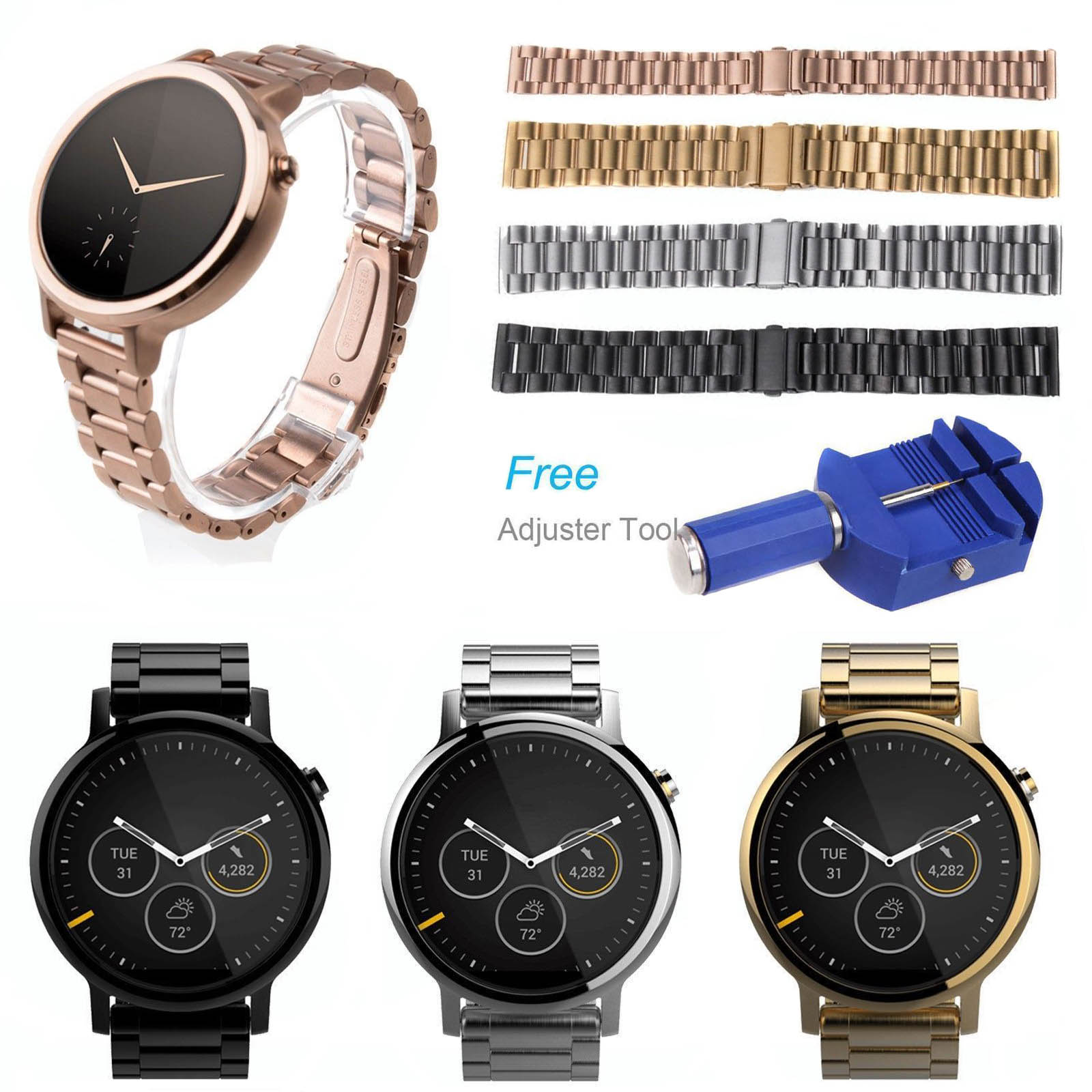 3-Beads Stainless Steel Link Bracelet for Motorola Moto 360 2nd Mens Smart Watch Band Women 42mm 46mm Wrist Strap Adapters Tool milanese magnetic loop stainless steel band for moto 360 2nd smart watch sliver 42mm