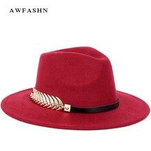 Nueva moda de Color sólido ala ancha Fedora invierno de los hombres  sombreros de las mujeres sombrero de fieltro señoras Vintage. a7a58c9adb9