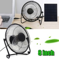 Solar Panel Powered Iron Fan 8 Cooling Air Fans USB Charging Portable For Outdoor Traveling Fishing Home Office