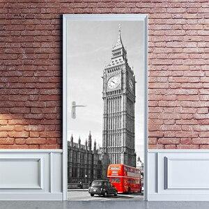 Съемный 3D стикер на дверь, для самостоятельной сборки, бесплатная доставка, наклейка на стену, рисунок в виде большого Бена, Красного автобу...