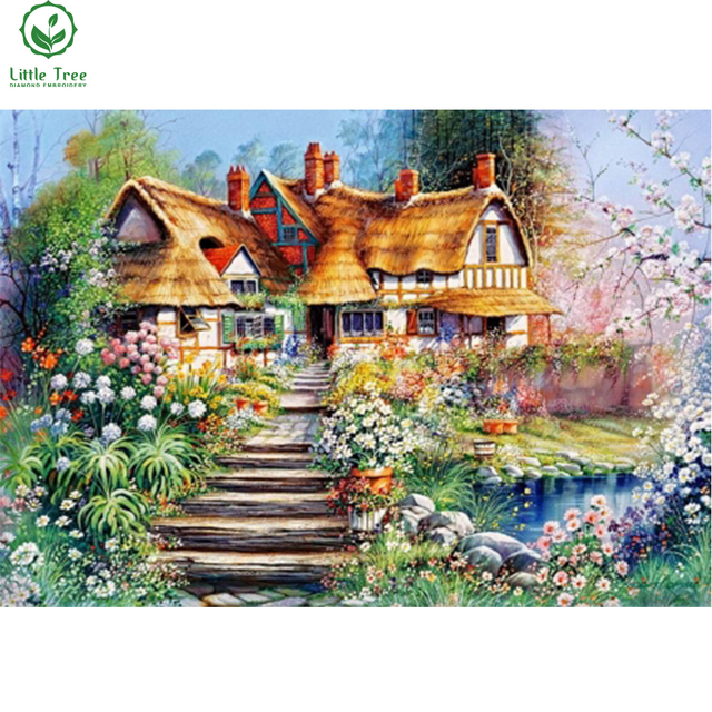 House Wall Decor Full Beads Painting Summer Cottage Diamond Scenery Sticker Adhesive Oil Canvas