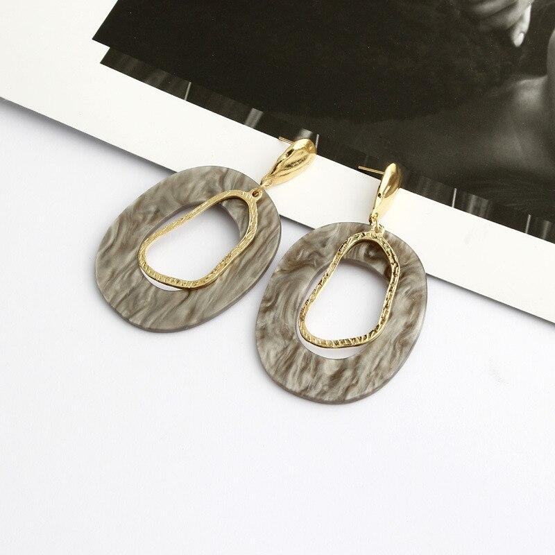 Women Acrylic Resin Retro Geometric Earrings Temperament Metal Irregular Earrings Statement Earrings Ethnic Earring in Drop Earrings from Jewelry Accessories