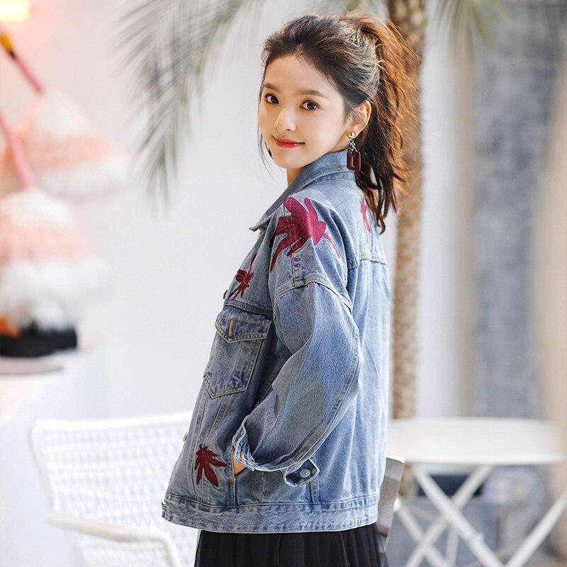 Jacket Coat Version Denim Blue Leaf Women Autumn 2018 Loose Plus Size Maple Spring Embroidery Wind Lr169 Clothes Korean Womens Bf New tUwqtIg