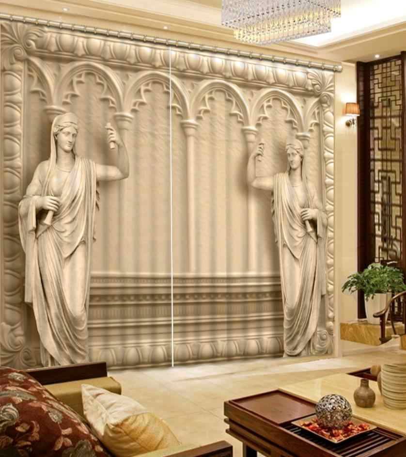 roman curtains 3D Curtain Printing Blockout Polyester Chinese Sun Photo Drapes Fabric For Room Bedroom Window forest curtains