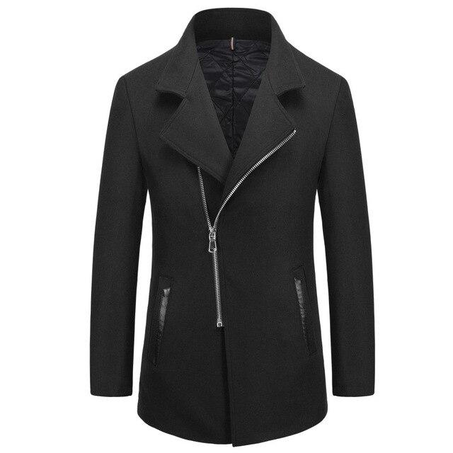 Moda Negro Azul Marino Slim Fit Hombres Trajes de Lana Mezclas Abrigos de Invierno Gruesa Turn-down Chaquetas de Cuello Suave Superior calidad M-XXXL