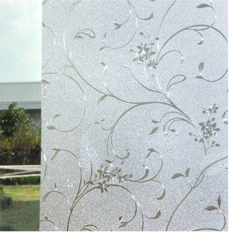 Plant Static Cling Sliding Door Living Room Decorative Frosting