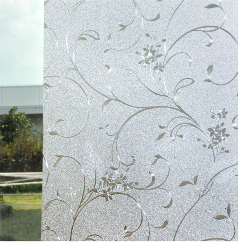Plant Design Free Shipping ! Static Cling Sliding Door, Living Room  Decorative Frosting Glass Window