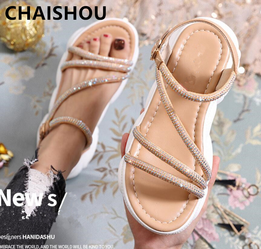 CHAISHOU Women Shoes 2019 Summer New Sandals Female Rhinestones Increased Soft And Thick Bottom Bear Zapatos Mujer B-448