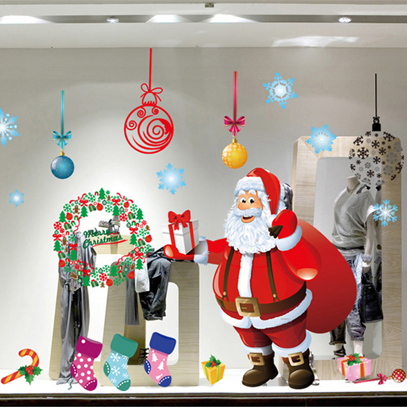 Showcase decor festival home decor merry christmas wall for Christmas wall mural