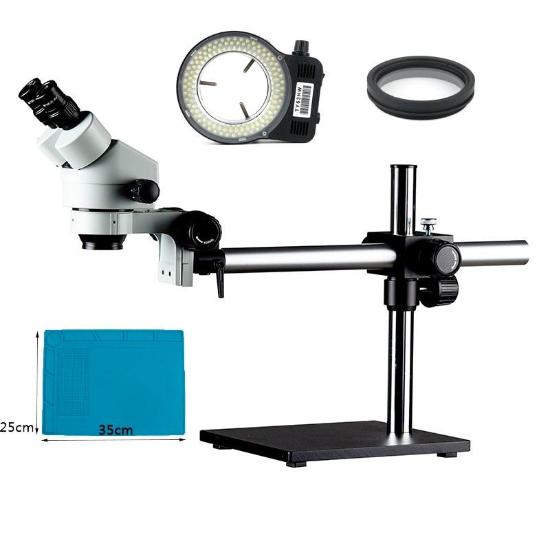 EAKINS 7-45X support à flèche unique Zoom Microscope stéréo binoculaire 144 LED éclairage Microscopio anneau lumière