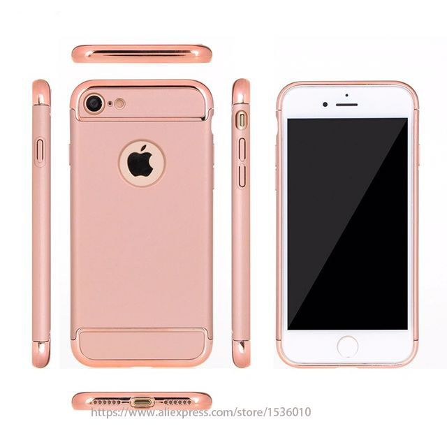 3 In 1 Rose Gold Luxury Hard Pc Case For Iphone 7 6 6s 5 5s Se Back
