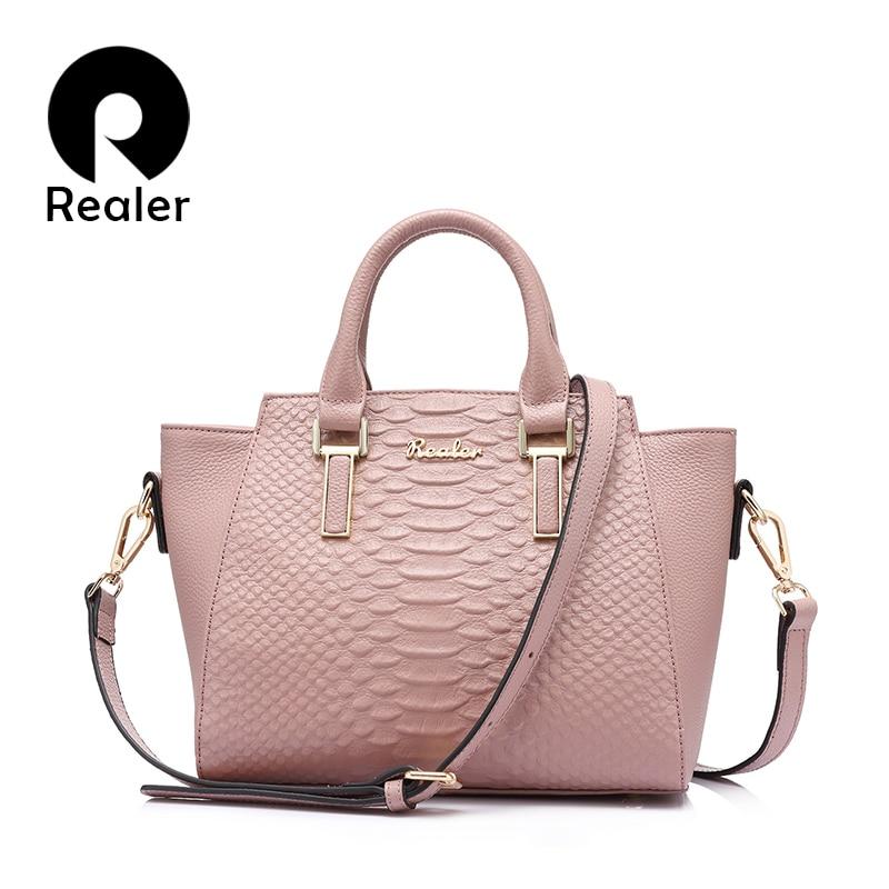 REALER fashion genuine Leather women handbags women bags designer messenger shoulder bag famous brands totes