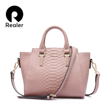 REALER fashion genuine Leather women handbags women bags des