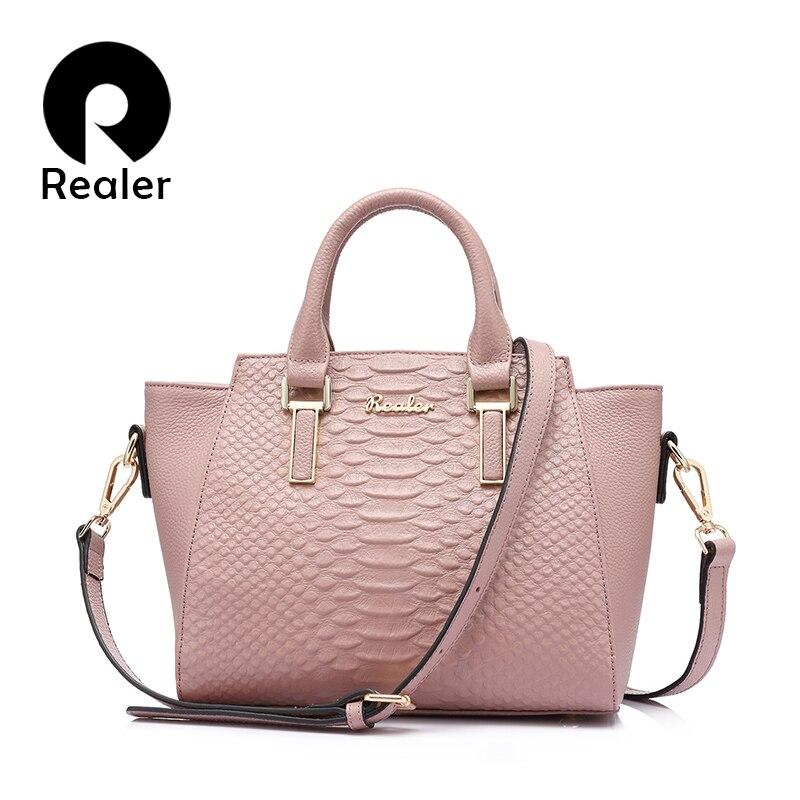 REALER moda prawdziwej skóry kobiet torebki damskie projektant messenger torby na ramię torba znanych marek skrzynki w Torby z uchwytem od Bagaże i torby na  Grupa 1