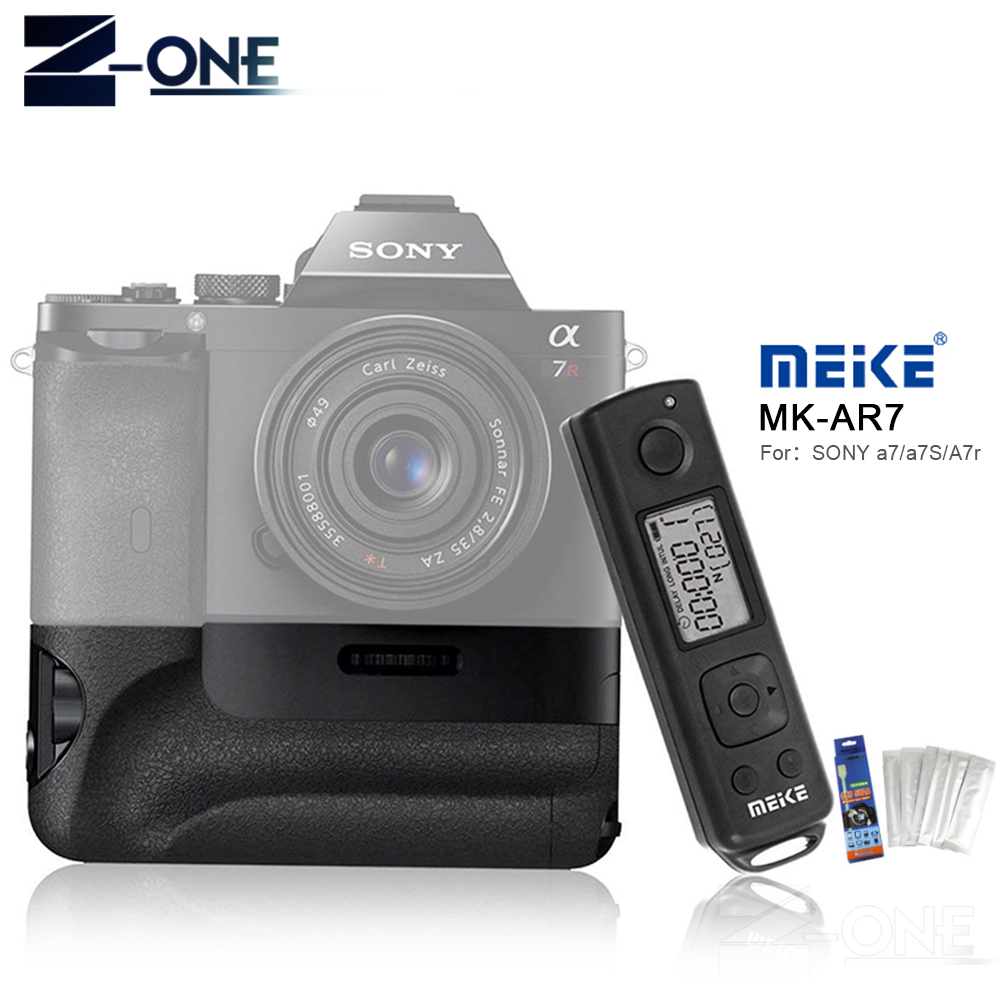 Meike MK-AR7 2.4G Wireless Remote System Vertical Battery Grip for Sony A7/A7R/A7S as VG-C1EM work With NP-FW50 Battery meike mk ar7 2 4g wireless remote system vertical battery grip holder with 2pcs np fw50 battery for sony a7 a7r a7s as vg c1em