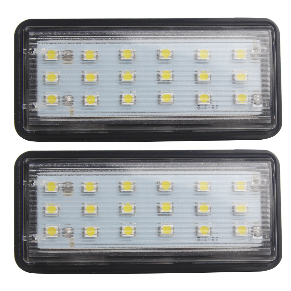 For Toyota Land Cruiser Prado Reiz Mark X 2pcs Number Plate Lamp LED Car License Plate Lights For Lexus LX470 LX570 Super Bright 2pcs car led license plate lights 12v white smd3528 led number plate lamp bulb kit for ford focus c max 03 07