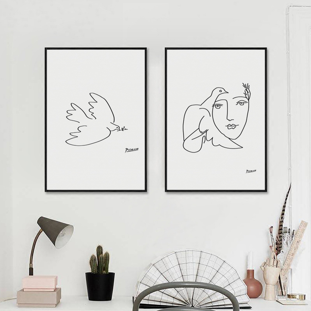 Picasso Peace Dove Stick Figure Black And White Lines Drawing Canvas ...
