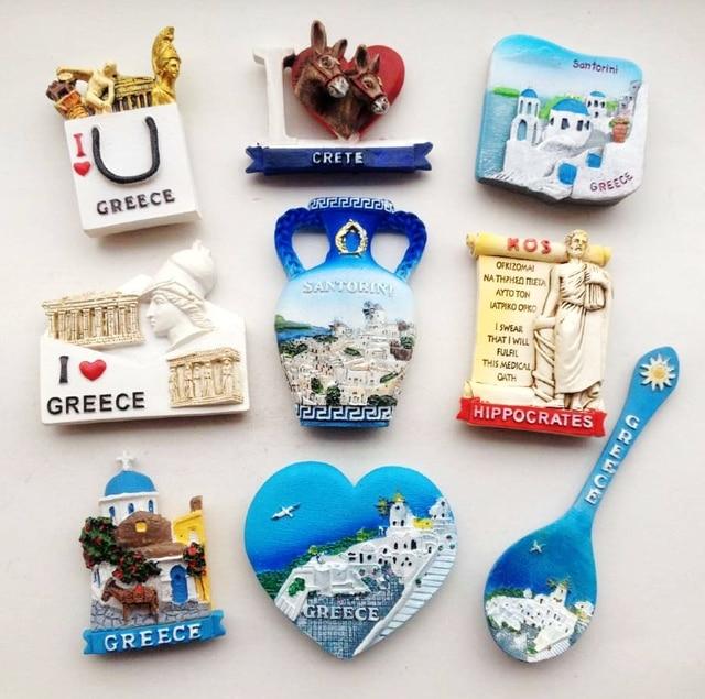 kitchen magnets commercial cabinets santorini attractions vase gift bag 3d refrigerator fridge greece tourism souvenirs magnetic stickers home decoration