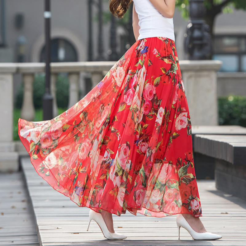 2018 new summer Fashion casual sexy chiffon printing Flowers Bohemia female women girls skirts clothes