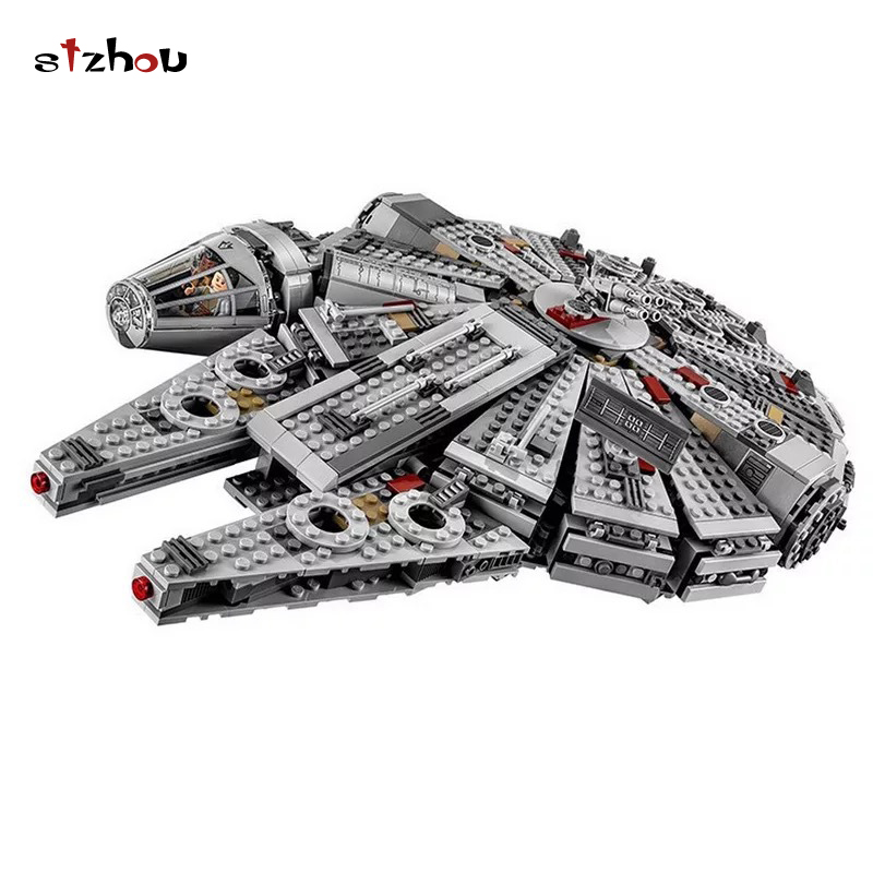Stzhou 05007 Star Wars Millennium Falcon Outer Space Space Ship Building Blocks Model Toys Gift Compatible 1369pcs lepin 22001 pirate ship imperial warships model building block briks toys gift 1717pcs compatible legoed 10210