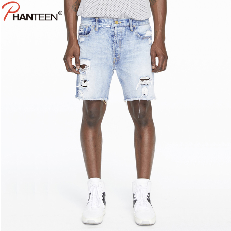Phanteen Summer Half Length Man Jeans Vintage Washed Ripped Jeans High Quality Hi-street Fashion Brand Men Jeans