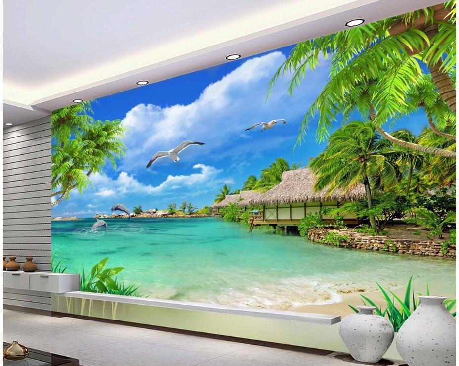 Custom 3d Photo Wallpaper 3d Wall Murals Wallpaper Hd: 3d Wallpaper Custom Photo Non Woven Mural Hd Coconut Trees