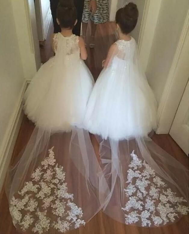 New Cheap Flower Girls Dresses For Weddings Lace Illusion White Jewel Neck Sweep Train Party Birthday Dress Pageant Gown guess new white illusion panel halter dress msrp $129 dbfl