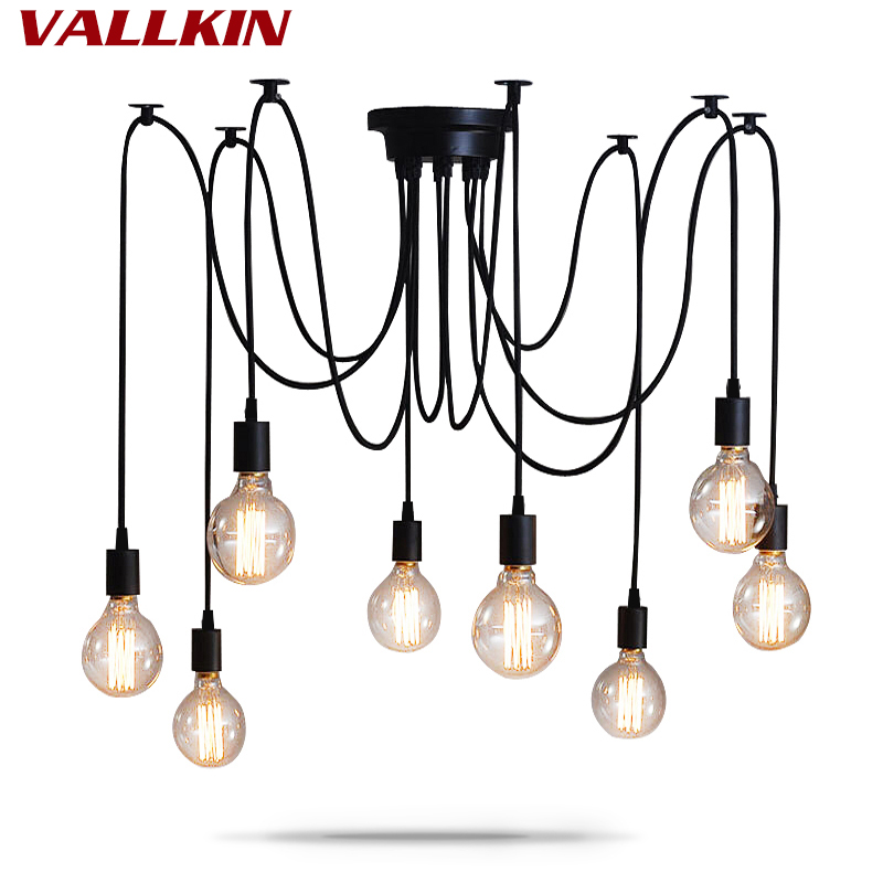 DIY Pendant lights Modern Nordic Retro Hanging Lamps Edison Bulb Fixtures Spider Ceiling Lamp Fixtures Light for Living Room