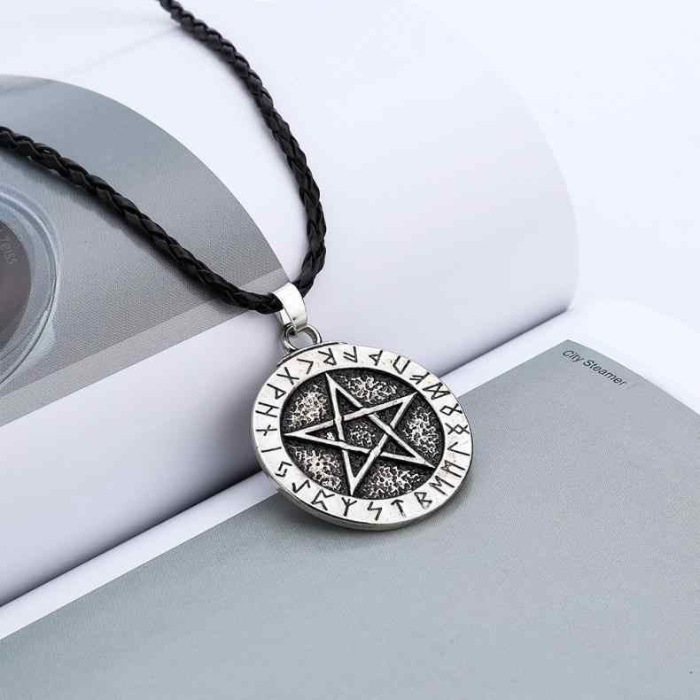 Exquisite Pendant Necklaces Large Rune Nordic Choker Viking Pentagram Pendant Jewelry Necklace Pentagram Wiccan Pagan Norse