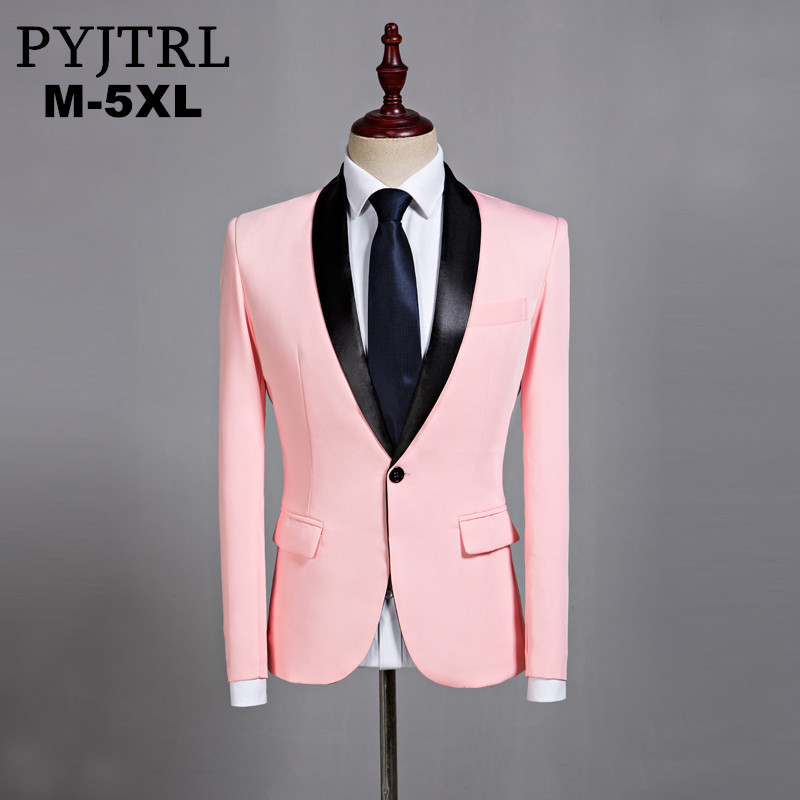 PYJTRL Mens Classic Black Shawl Lapel Pink Casual Blazer DJ Party Stage Singer Wedding Grooms Slim Fit Suit Jacket Costume Homme