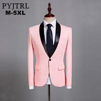 PYJTRL Mens Classic Black Shawl Lapel Pink Casual Blazer DJ Party Stage Singer Wedding Grooms Slim Fit Suit Jacket Costume Homme Men Blazers