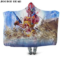 War Hero Hooded Blanket Red Wearable Kids Warrior Movie Anime 3D Printing Hot Fashion Bedding Office Quilts Soft Adults Travel