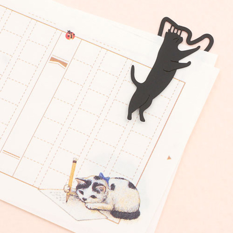 1Piece Cute Cat Metal Bookmarks Kawaii Black Book Markers Creative Paperclip For Books Kids Girl Gift Korean Stationery Supplies