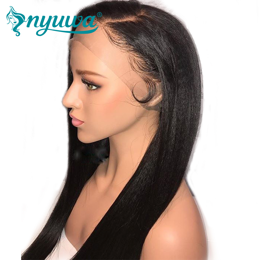 NYUWA 180% Density 360 Lace Frontal Wig Pre Plucked With Baby Hair Brazilian Remy Hair Straight Lace Front Human Hair Wigs
