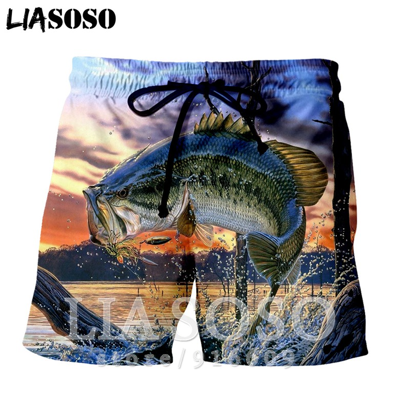 Fashion Ball Casual Anime Rock Punk Funny Largemouth Bass Men Fish Women Sea Funny Kids Harajuku Beach Sweatpants Shorts E662