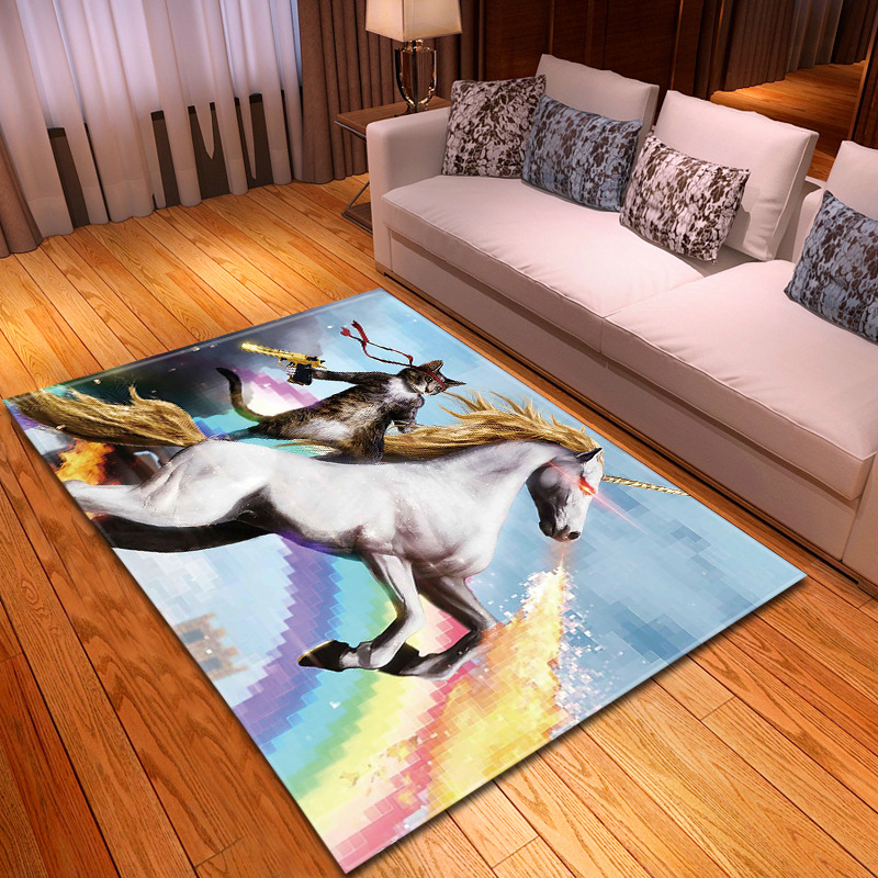 Creative Cat/Horse Print Rugs And Carpets For Living Room Bedroom Large Size carpet Parlor Hallway Doormat Home Furnishing Decor image