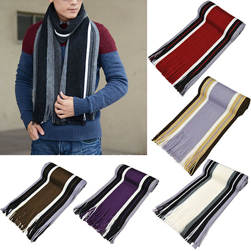 Tassel Scarf Shawl Winter Long-Fringe Warm Striped Men's Classic Bluelans 7-Colors Acrylic