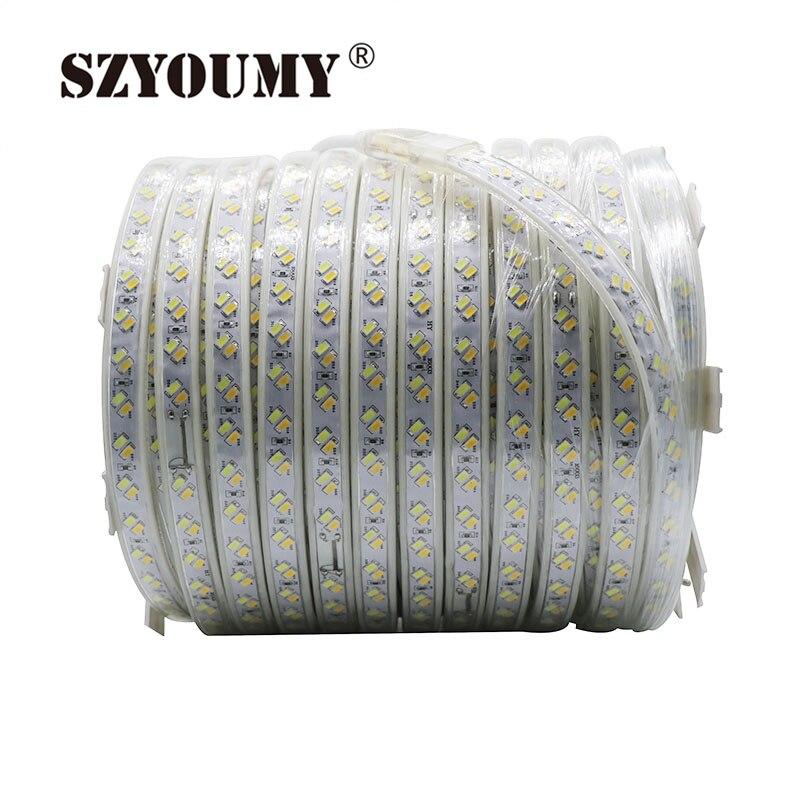 SZYOUMY 220 В Светодиодные ленты дюралайта 5630 5730 SMD двойной белый затемнения Водонепроницаемый IP67 под шкафы DIY вечерние освещения 120 светодио дный s/M - 2