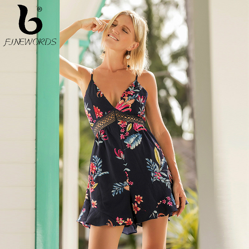 FINEWORDS Sling Strapless Deep V-neck Romper Bohemian Floral Print Sexy Summer Beach Playsuit Vacation Plus Size Jumpsuit Women