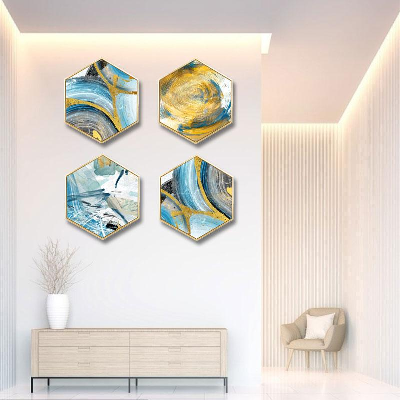 Creative gold foil abstract wall painting living room background wall painting corridor mural Hotel decorative painting in Painting Calligraphy from Home Garden
