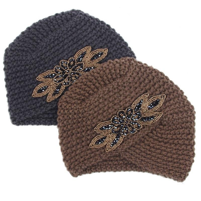 Hot Sale Winter Warm Crochet Caps Braided Turban Headdress Female Cap Winter Women Hats Knitting Wool Knit Hat