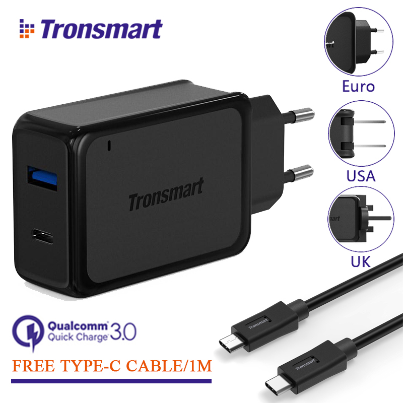 Tronsmart W2PTU [2 Ports] Quick Charge 3.0 USB Charger with USB Type C for Xiaomi
